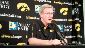 Iowa head coach Fran McCaffery discusses the Hawkeyes' Big Ten opener against No. 5 Indiana during his press conference held Friday, Dec. 28, 2012, at Carver-Hawkeye Arena in Iowa City.