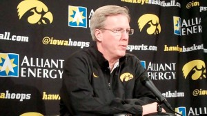 Iowa head coach Fran McCaffery discusses the Hawkeyes' upcoming game against Northwestern during his press conference held Friday, Feb. 8, 2013, at Carver-Hawkeye Arena in Iowa City.