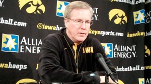 Iowa head coach Fran McCaffery discusses the Hawkeyes' upcoming game against Purdue during his press conference held Monday, Feb. 25, 2013, at Carver-Hawkeye Arena in Iowa City.