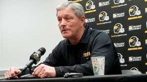 Iowa head coach Kirk Ferentz discusses the new opening on his coaching staff prior to his coordinators' press conferences on Wednesday, April 23, 2014, at the Hayden Fry Football Complex in Iowa City.