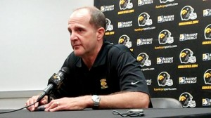 Iowa defensive coordinator Phil Parker gives his assessment of the Hawkeye defense through 12 spring practices during a press conference held Wednesday, April 23, 2014, at the Hayden Fry Football Complex in Iowa City.