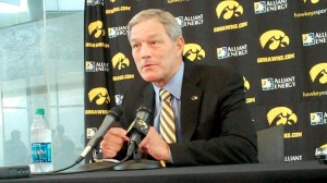 Iowa head coach Kirk Ferentz addresses the media during his press conference at Iowa's Media Day on Monday, Aug. 4, 2014, at Carver-Hawkeye Arena in Iowa City. Ferentz is entering his 16th season as the Hawkeyes' head coach.
